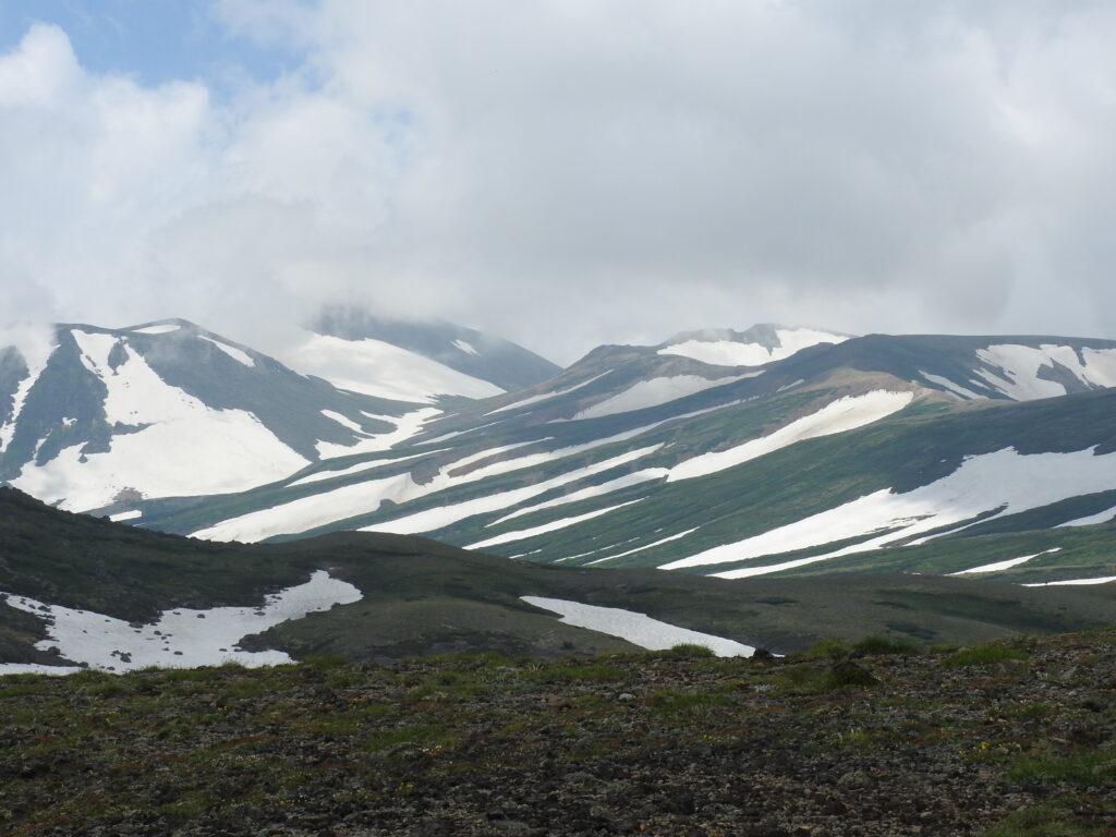 旭岳にかけてのゼブラ模様の雪渓